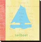 Vintage Toys Sailboat Toile tendue sur châssis par Paula Scaletta