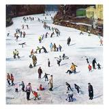 """Fox River Ice-Skating"", January 11, 1958 Giclee-trykk av John Falter"