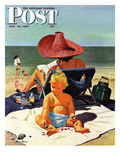 """Baby & Nail Polish"" Saturday Evening Post Cover, July 22, 1950 Lámina giclée por Stevan Dohanos"