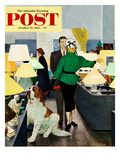 """St. Bernard in Lamp Shop"" Saturday Evening Post Cover, October 25, 1952 Giclee Print by George Hughes"