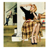 """Eavesdropping on Sister"", February 9, 1957 Giclee Print by George Hughes"