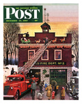 """Christmas at the Fire Station"" Saturday Evening Post Cover, December 16, 1950 Reproduction procédé giclée par Stevan Dohanos"