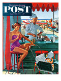 """Babysitter at Beach Stand"" Saturday Evening Post Cover, August 28, 1954 Giclee Print by George Hughes"