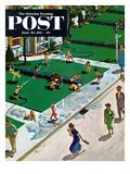 """Water Fight"" Saturday Evening Post Cover, June 30, 1951 Gicléetryck av Thornton Utz"