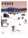"""Ice Fishing Camp"" Saturday Evening Post Cover, January 12, 1957 Lámina giclée por Stevan Dohanos"