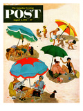 """Couples at the beach"" Saturday Evening Post Cover, August 2, 1952 Giclee Print by George Hughes"