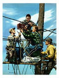 """Linemen Listen to World Series"", October 4, 1952 Lámina giclée por Stevan Dohanos"