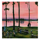 """Evening Picnic"", August 18, 1951 Giclee Print by John Falter"