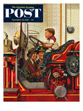 """Boy on Fire Truck"" Saturday Evening Post Cover, November 14, 1953 Lámina giclée por Stevan Dohanos"