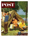 """Three Generations Camping"" Saturday Evening Post Cover, May 30, 1953 Gicléetryck av Mead Schaeffer"