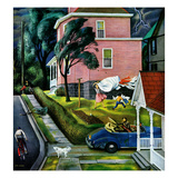 """""""Spring Storm Blowing In"""", April 26, 1952 Giclee Print by John Falter"""