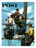 """Linemen Listen to World Series"" Saturday Evening Post Cover, October 4, 1952 Reproduction procédé giclée par Stevan Dohanos"