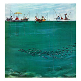 """School of Fish Among Lines"", August 7, 1954 Gicléetryck av Thornton Utz"