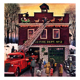 """Christmas at the Fire Station"", December 16, 1950 Lámina giclée por Stevan Dohanos"