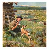 """Feeding Fawn Near Flowering Field"", May 27, 1950 Giclée-Druck von John Clymer"