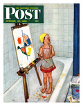 """Artist in the Bathtub"" Saturday Evening Post Cover, October 28, 1950 Giclee Print by Jack Welch"