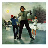 """""""Ice-skating Class for Dad"""", February 8, 1958 Giclee Print by George Hughes"""