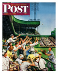 """Catching Home Run Ball"" Saturday Evening Post Cover, April 22, 1950 Reproduction procédé giclée par Stevan Dohanos"