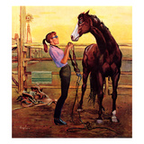 """""""Putting on the Bridle"""", July 20, 1957 Giclee Print by George Hughes"""