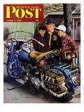 """""""Tex's Motorcycle"""" Saturday Evening Post Cover, April 7, 1951 Reproduction procédé giclée par Stevan Dohanos"""
