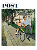 """""""Bike Riding Lesson"""" Saturday Evening Post Cover, June 12, 1954 Giclee Print by George Hughes"""