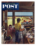 """Doing Dishes at the Beach"" Saturday Evening Post Cover, July 19, 1952 Reproduction procédé giclée par Stevan Dohanos"