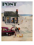 """First Day at the Beach"" Saturday Evening Post Cover, August 11, 1956 Giclee Print by George Hughes"