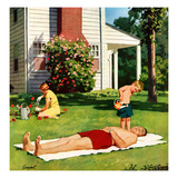 """Watering Father"", June 4, 1955 Giclee Print by Richard Sargent"
