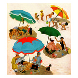 """Couples at the beach"", August 2, 1952 Giclee Print by George Hughes"
