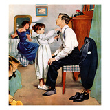 """Fixing Father's Tie"", December 31, 1955 Giclee Print by George Hughes"