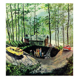 """Visitors to Cabin in the Woods"", August 23, 1958 Giclee Print by Thornton Utz"