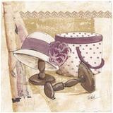Boite et Chapeau Violet Prints by Véronique Didier-Laurent