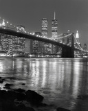 Night View of Brooklyn Bridge and Manhattan Skyline Plakater af Christopher Bliss
