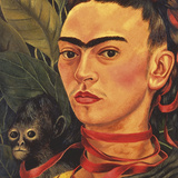 Self Portrait with a Monkey, c.1940 (detail) Posters af Frida Kahlo
