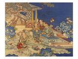 Detail from a Chinese Kesi Coloured Silk Panel Depicting Daoist Immortals Gicléedruk