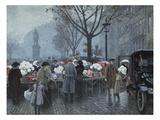 A Flower Market, Hojbroplads, Copenhagen Giclee Print by Paul Fischer