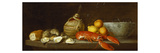 Bread, Oysters, a Chianti Flask, a Lobster, Lemons, Oranges and Glasses in a Porcelain Bowl on a… Giclée-Premiumdruck von Jacob Bogdany