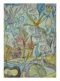 Flock of Birds; Vogelsammlung Giclée-tryk af Paul Klee