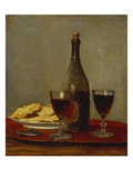 A Still Life of Two Glasses of Red Wine, a Bottle of Wine, a Corkscrew and a Plate of Biscuits on… Giclée-Druck von Albert Anker