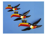 A Set of Three Carltonware Graduated Guinness Advertising Toucan Wall Hangings Giclée-tryk
