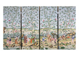A Set of Four Chinese Painted Wallpaper Panels Depicting Chinese Figures in a Garden with Bamboo… Gicléedruk van  Chinese School