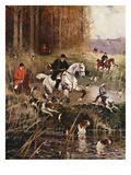 Scene De Chasse a Cour Giclée-tryk af Rene Princeteau