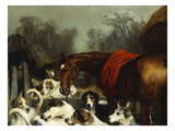 No Hunting Till the Weather Breaks' (Or 'Hunter and Hounds') Giclée-tryk af Edwin Henry Landseer