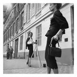 Vogue - August 1954 - Suzy Parker in Chanel Premium fototryk af Jacques Boucher