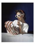 Vogue - July 1939 - White Sunglasses & Red Lipstick Premium Photographic Print by Horst P. Horst