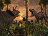 Tyrannosaurus Rex and Triceratops Meet for a Battle to the Death Photographic Print by  Stocktrek Images