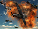 World War II Aerial Combat Between American P-51 Mustang and German Focke-Wulf 190 Fighter Planes Fotografisk trykk av Stocktrek Images,