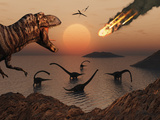 A Mighty T. Rex Roars from Overhead as a Giant Fireball Falls from the Sky Photographic Print by  Stocktrek Images
