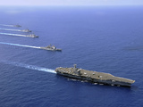 Military Ships Operate in Formation in the South China Sea Stampa fotografica di Stocktrek Images,