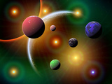 Illustration of the Variations of Stars and Planets in the Milky Way Galaxy Fotografie-Druck von  Stocktrek Images
